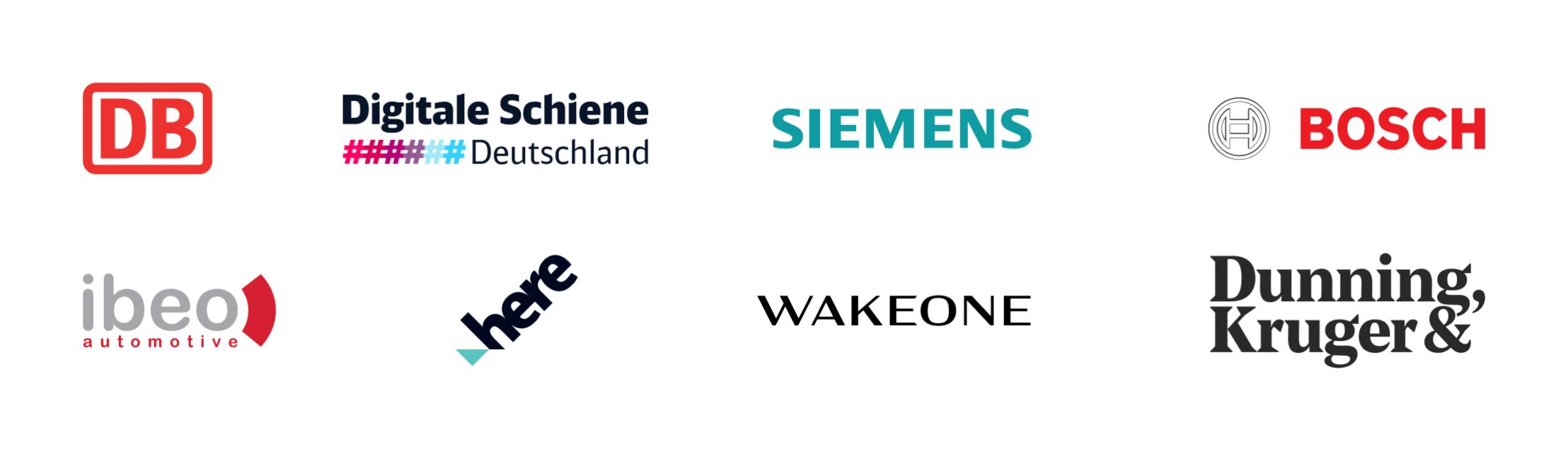 Partner logos: Deutsche Bahn, Siemens, Bosch, Ibeo, HERE Technologies, Wakeone